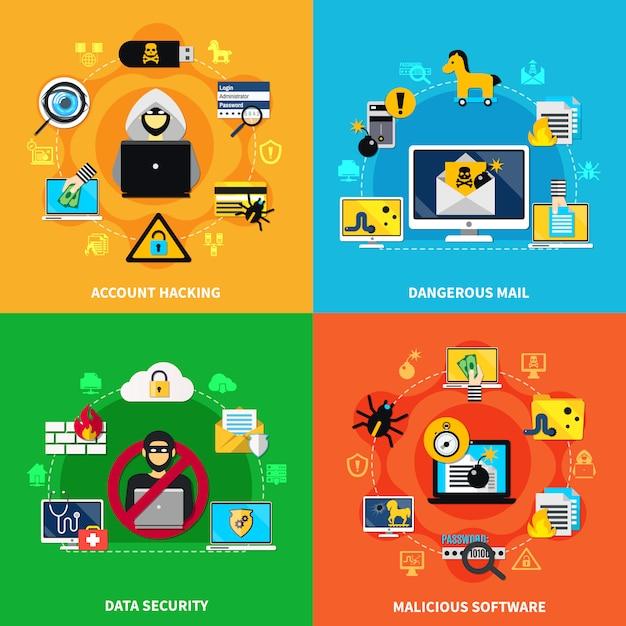 Datensicherheit 2x2 Premium Vektoren