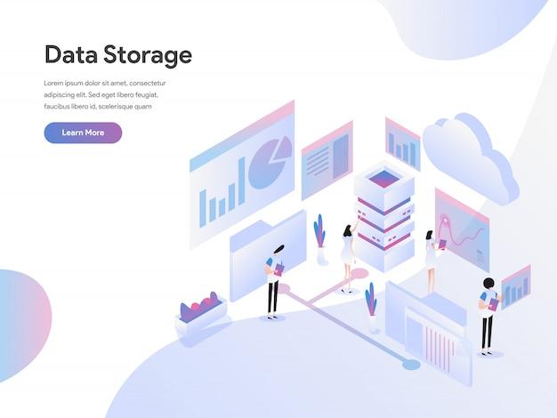 Datenspeicherungs-isometrisches illustrations-konzept Premium Vektoren