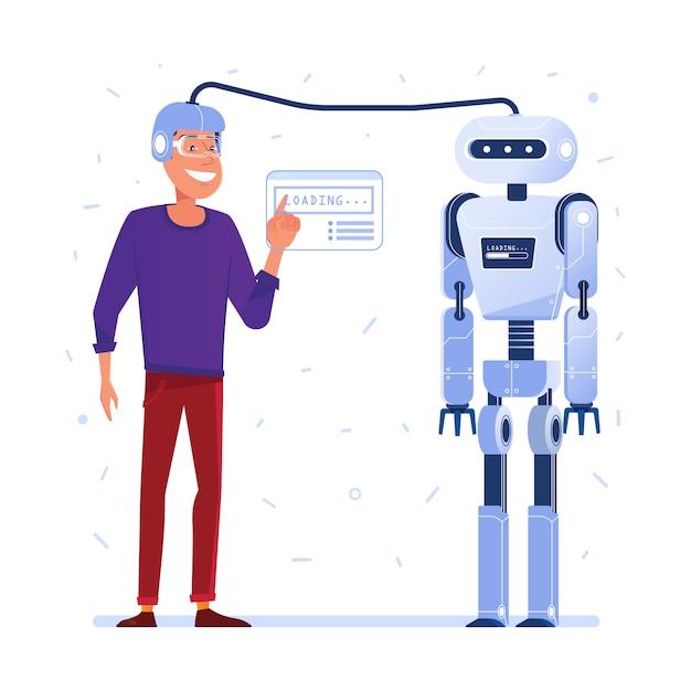 Datenübertragung vom menschlichen gehirn zum roboter. Premium Vektoren