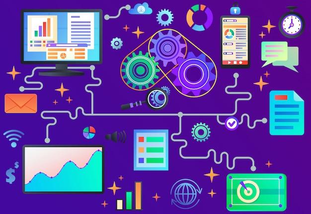Datenverarbeitung Premium Vektoren