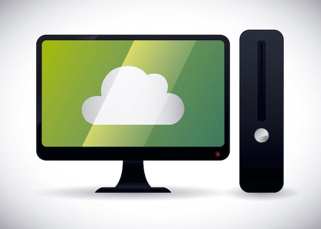 Datenverarbeitungsdesign der wolke, vektorillustration. Premium Vektoren