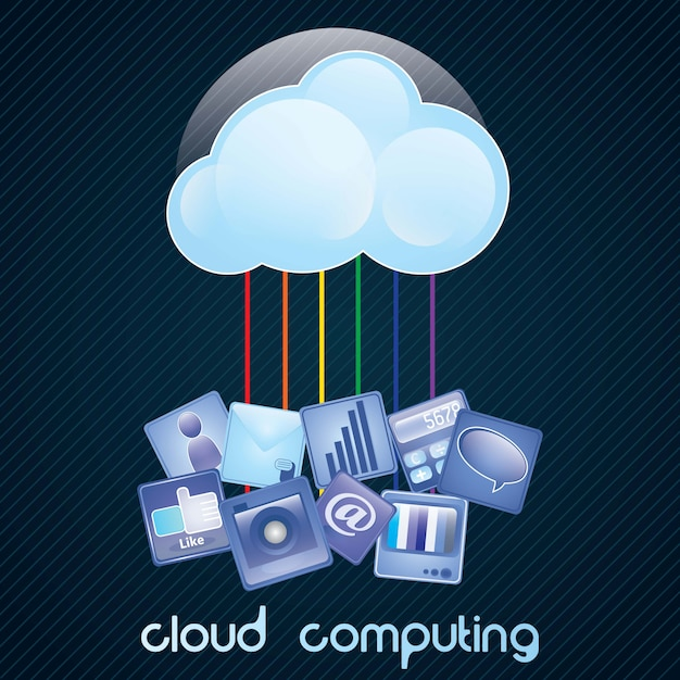 Datenverarbeitungskonzept der wolke auf dunklem hintergrund mit vielen ikonen vector illustration Premium Vektoren