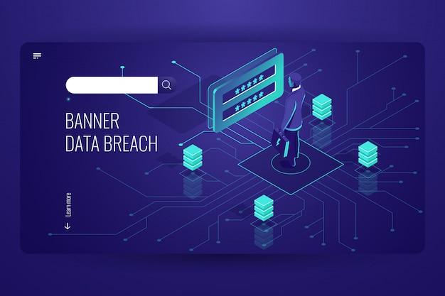 Datenverletzung, hackerangriff, hacking von passwörtern, digitales engineering, social engineering Kostenlosen Vektoren