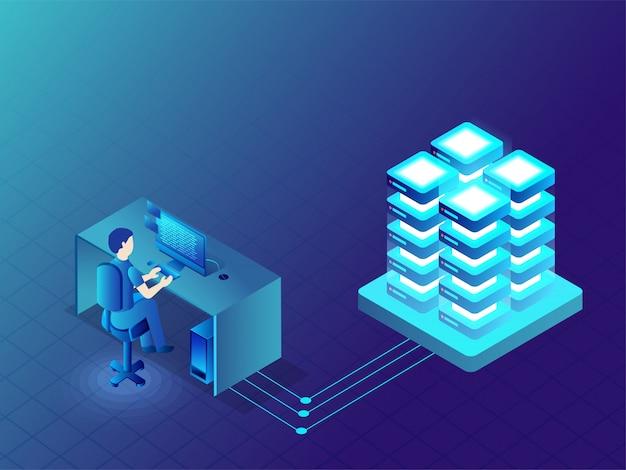Datenverwaltungskonzept. Premium Vektoren
