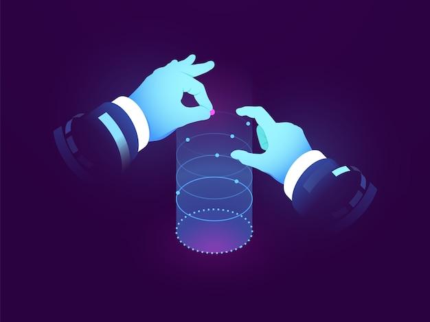 Datenwissenschaft und einblicke, kontrolle der hand, experimentvisualisierung, datenflussdiagramm, manipulation Kostenlosen Vektoren
