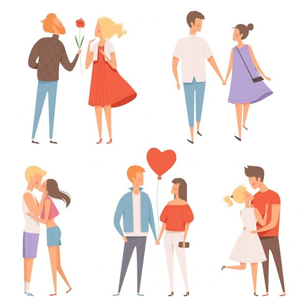 Datierungspaare, glück st.-valentinstags am 14. februar, das romantisches liebhabercharakterdatumskonzept umarmt Premium Vektoren