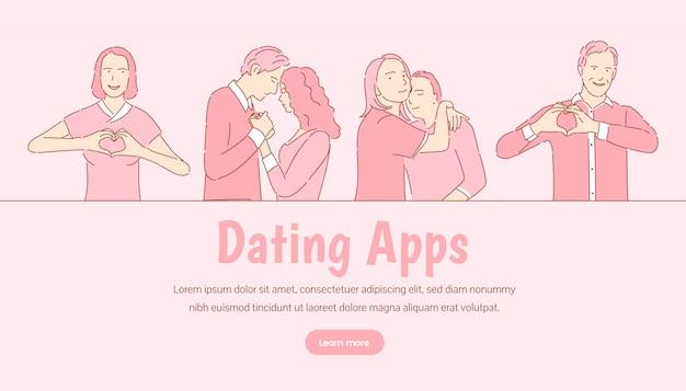 Dating-anwendung banner vorlage. romantische liebesgeschichte, valentinstag-zielseitenkonzept. Premium Vektoren