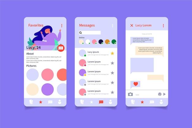 Dating app chat-schnittstelle design Kostenlosen Vektoren