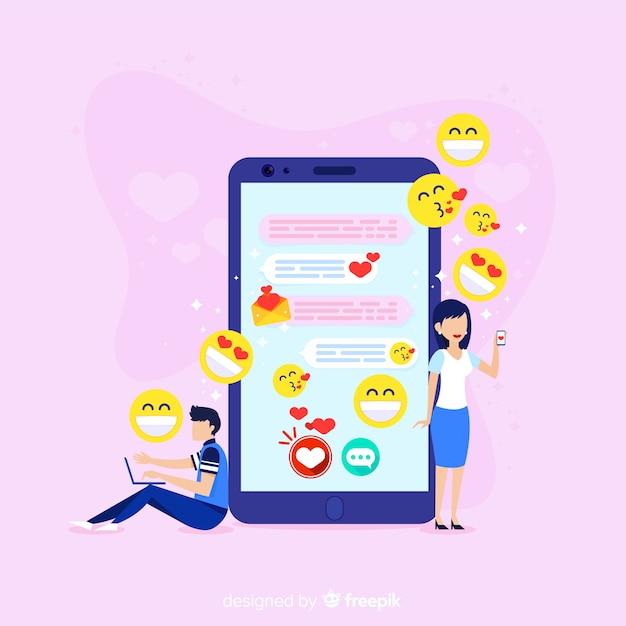Dating-app-konzept mit emojis Kostenlosen Vektoren