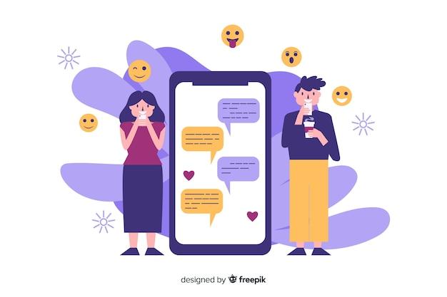 Dating app-konzept mit illustrationen Kostenlosen Vektoren