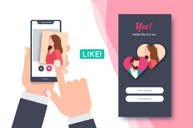 Dating app swipe interface vorlage Kostenlosen Vektoren