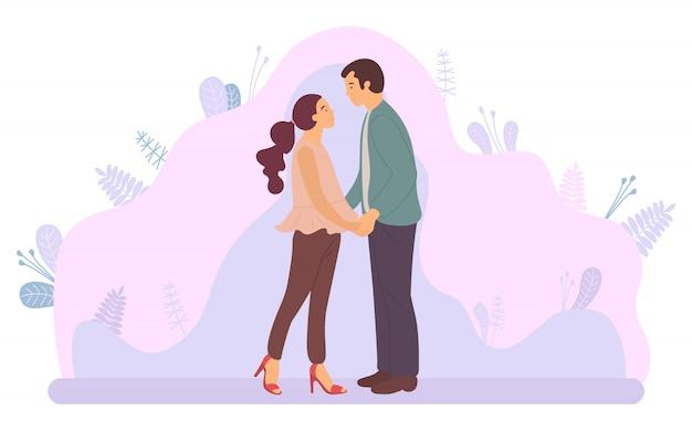 Dating paar, umarmt mann und frau, lila pflanze Premium Vektoren