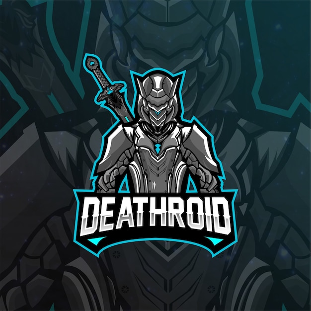 Deathroid logo maskottchen Premium Vektoren