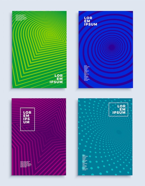 Deckt moderne abstrakte designvorlagen ab, die futuristische geometrische kompositionen festlegen Premium Vektoren