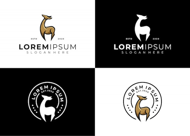 Deer emblem logo set kreativ Premium Vektoren