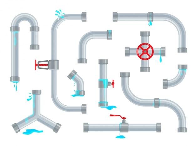 Defekte und undichte wasserleitungen. sanitärreparaturen. rohrleitungsteile, ventile und rohrleitungen isoliert. set industrieller entwässerungssysteme in einem trendigen flachen stil. Premium Vektoren