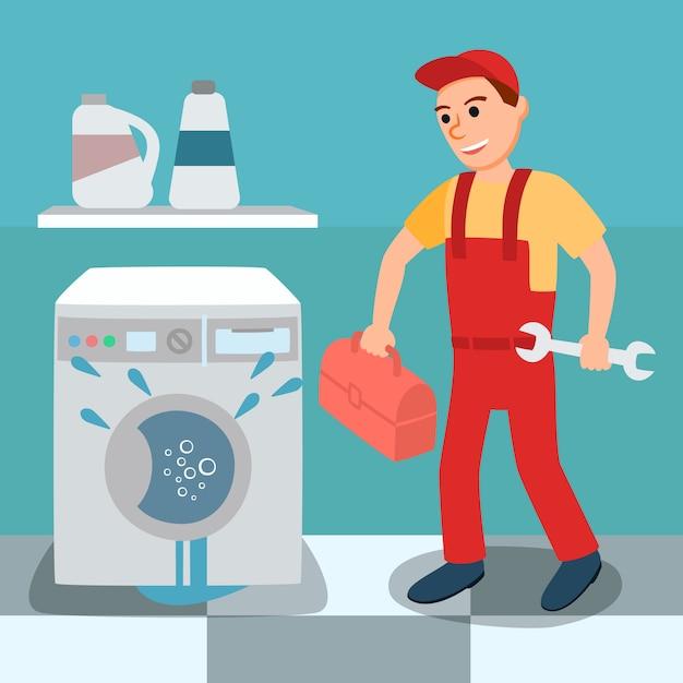 Defekte undichte waschmaschine und klempner Premium Vektoren