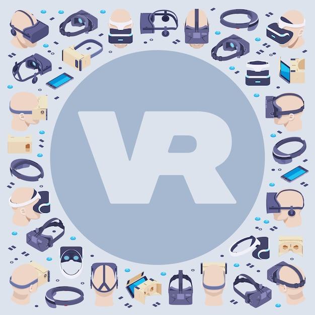 Dekoration aus isometrischen virtual-reality-headsets Premium Vektoren