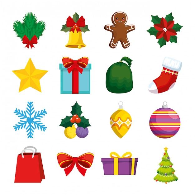 Dekoration weihnachten mit icons set Kostenlosen Vektoren