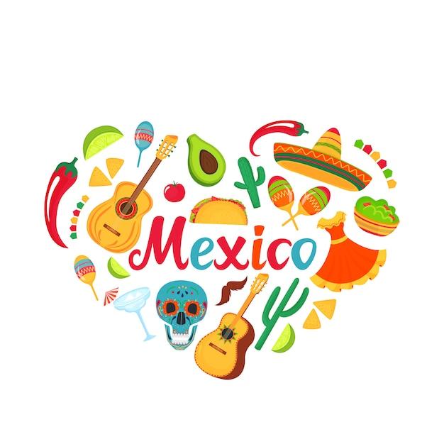 Dekorationen für nationale mexikanische feiern. Premium Vektoren