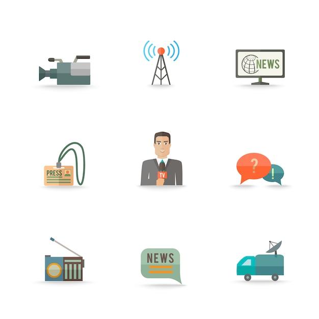Dekorative aktuelle nachrichten leben ausrüstungskamera-logokartendesignikonen des journalismusbetreibers eingestellte ebene lokalisierte illustration Kostenlosen Vektoren