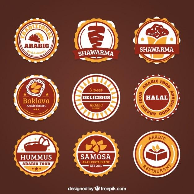 Dekorative arabische lebensmittel-etiketten Kostenlosen Vektoren