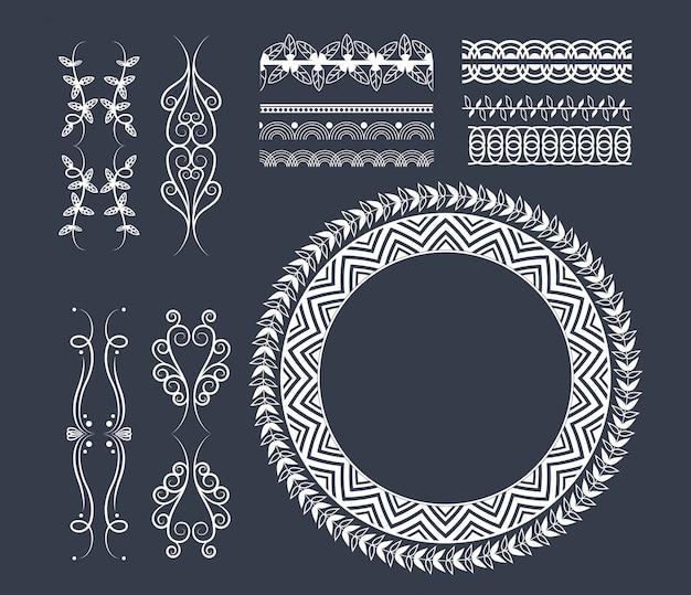 Dekorative bandemblemkarikatur Kostenlosen Vektoren