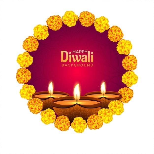 Dekorative blume auf diwali diya für festivalkartenhintergrund Kostenlosen Vektoren