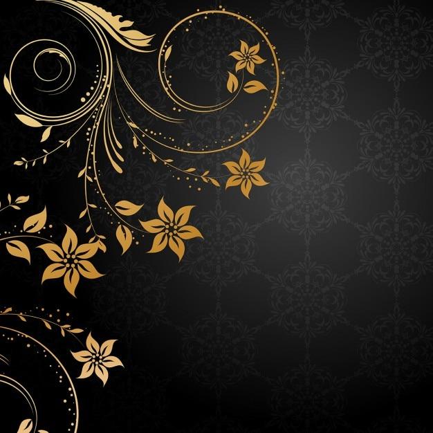 dekorative blumen hintergrund mit gold design elemente auf schwarz download der kostenlosen vektor. Black Bedroom Furniture Sets. Home Design Ideas