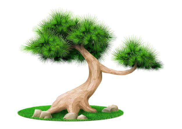 Dekorative bonsaibaumkiefer lokalisiert Premium Vektoren