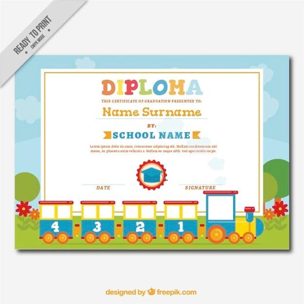 Dekorative Diplom für Kinder mit einem fantastischen Zug | Download ...