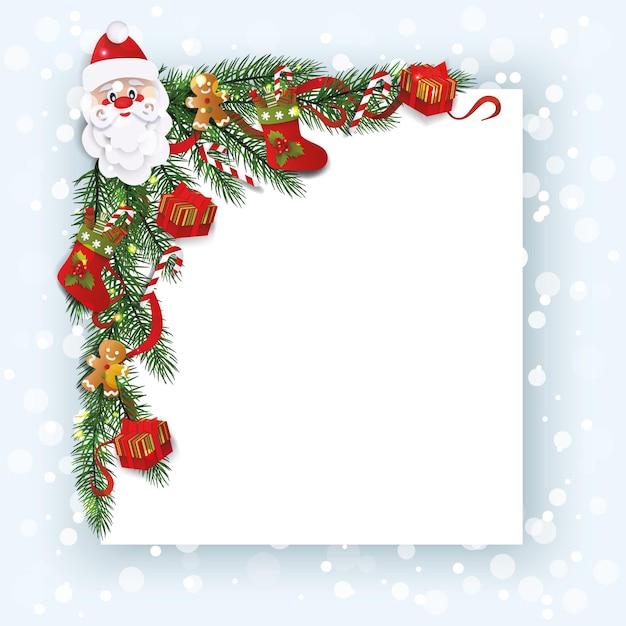 Dekorative ecke mit weihnachtsstrümpfen und weihnachtsmannkopf Premium Vektoren