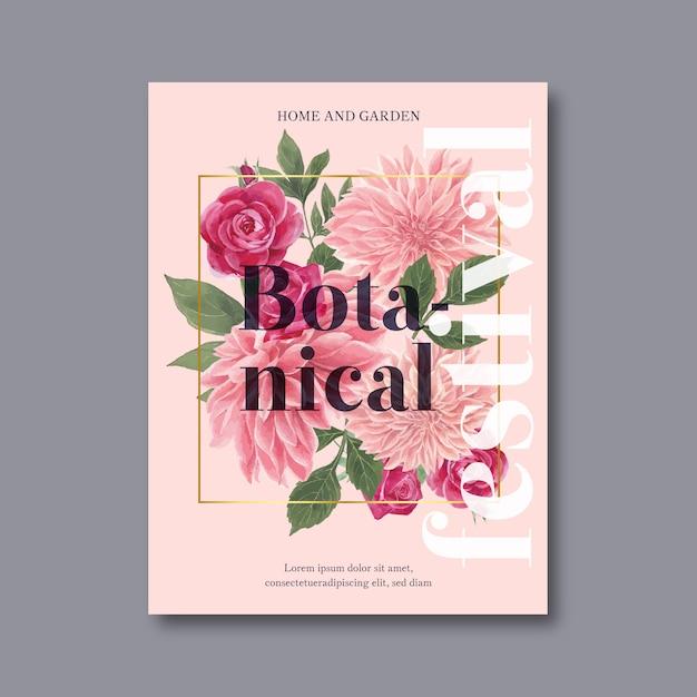 Dekorative einladung des blumenblüten-plakats Kostenlosen Vektoren