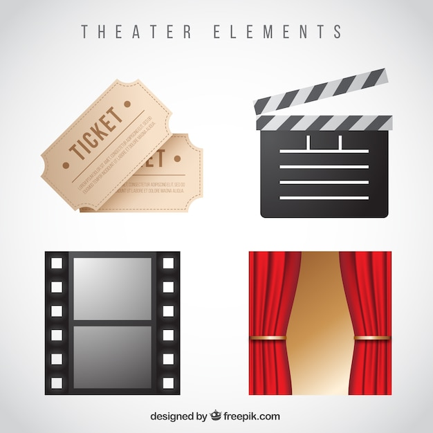 Dekorative elemente theater in realistischen stil Kostenlosen Vektoren