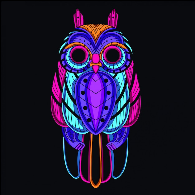 Dekorative eule aus leuchtender neonfarbe Premium Vektoren
