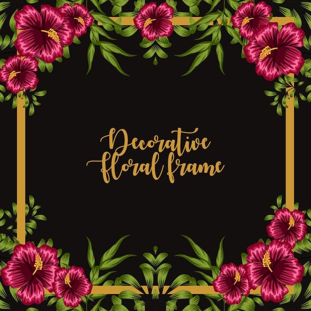Dekorative florale rahmenverzierung Premium Vektoren