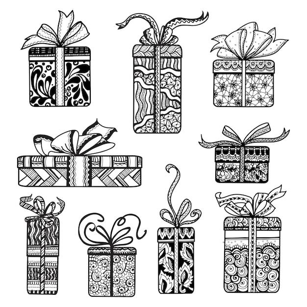 Dekorative geschenkkästen stellten schwarzes gekritzel ein Kostenlosen Vektoren