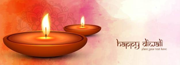 Dekorative glückliche diwali-diya fahnenschablone Kostenlosen Vektoren