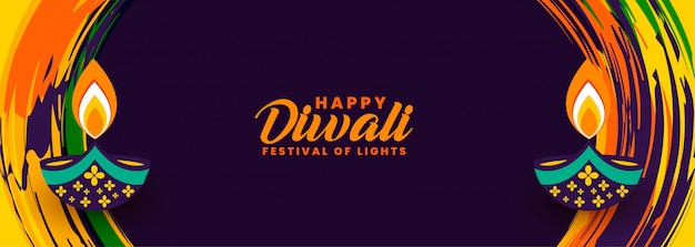 Dekorative glückliche diwali zusammenfassungsfestivalfahne Kostenlosen Vektoren
