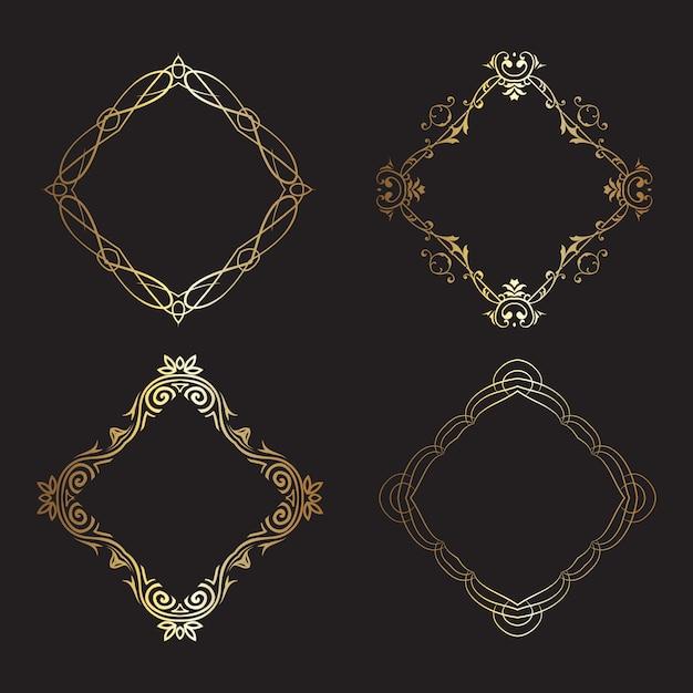Dekorative goldrahmensammlung Kostenlosen Vektoren