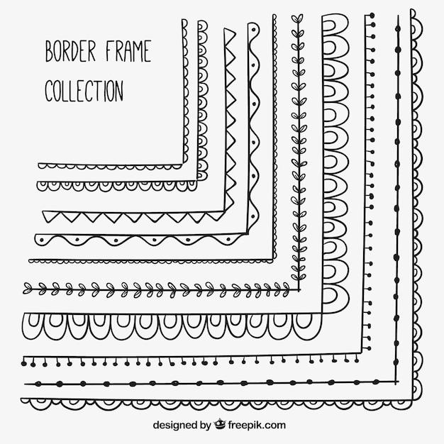 Dekorative grenzen von hand gezeichneten rahmen set Kostenlosen Vektoren