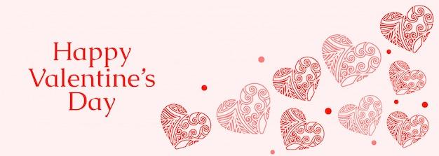 Dekorative herzen für glücklichen valentinstag Kostenlosen Vektoren