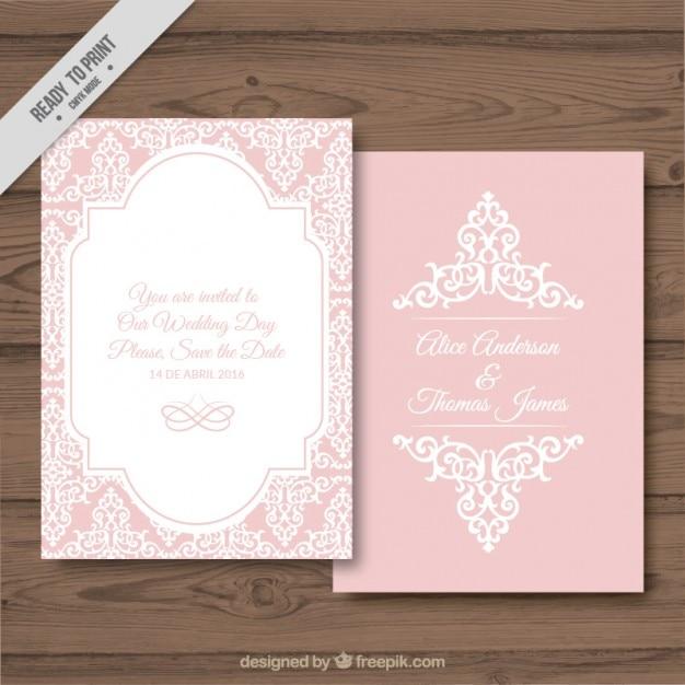 Dekorative Hochzeitskarte Auf Einem Rosa Hintergrund Download Der
