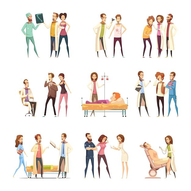 Dekorative ikonen der krankenschwesterzeichentrickfilm-figuren stellten mit den patienten ein, die in der medizinischen hilfe und in den krankenschwestern benötigen, die behandlung erbringen Kostenlosen Vektoren