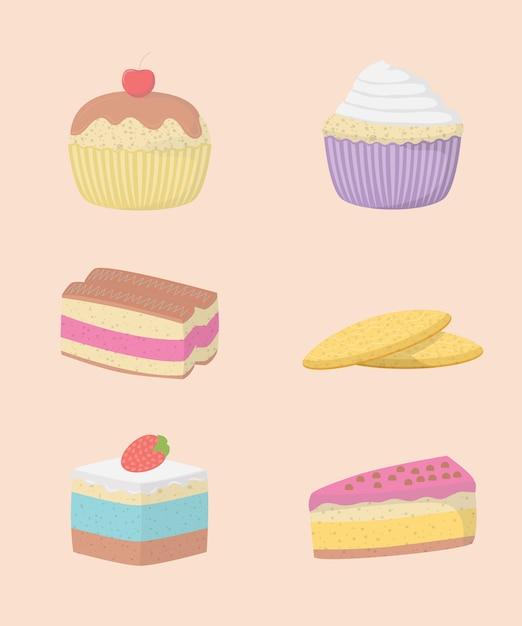 Dekorative ikonen der kuchen und der bonbons eingestellt Premium Vektoren