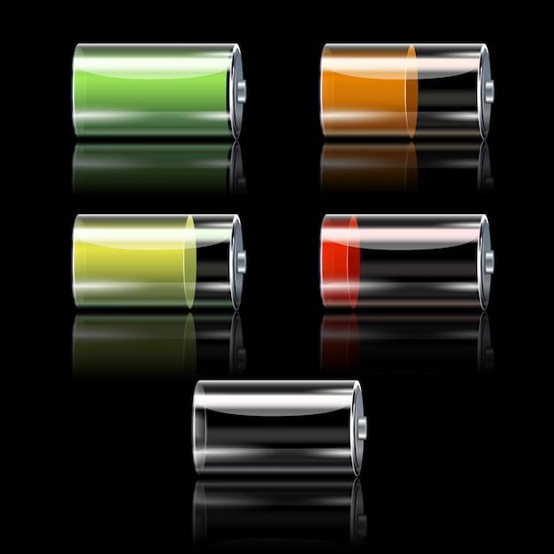 Dekorative ikonen der realistischen batterie eingestellt Kostenlosen Vektoren