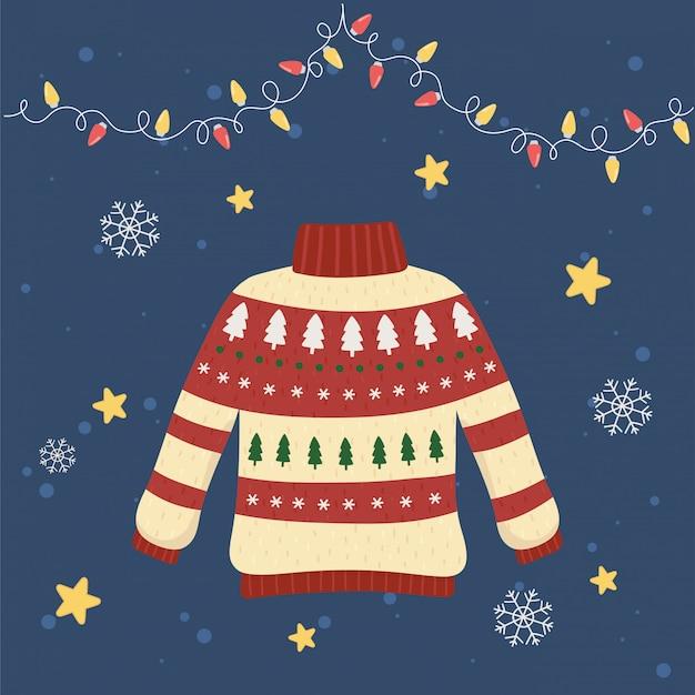 Dekorative kiefer und lichter der weihnachtshässlichen strickjackenparty Premium Vektoren