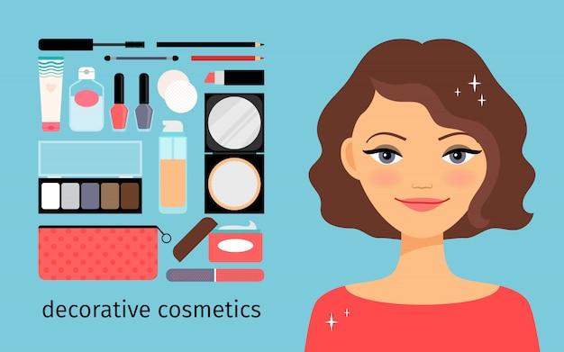 Dekorative kosmetik mit schönen mädchen Premium Vektoren