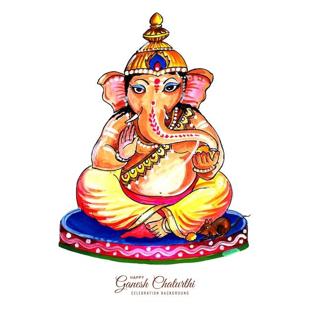 Dekorative lord ganesha für ganesh chaturthi karte Kostenlosen Vektoren