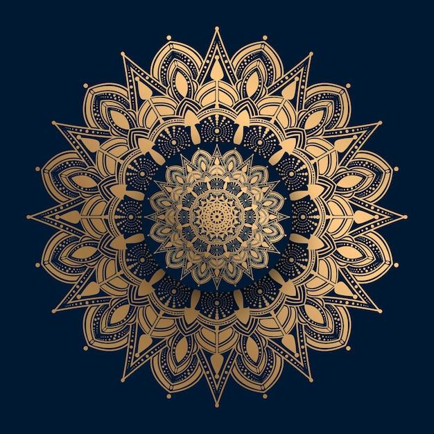 Dekorative luxusmandala mit goldenem islamischem muster Premium Vektoren